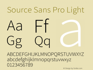 Source Sans Pro Light Version 1.033;PS 1.000;hotconv 1.0.70;makeotf.lib2.5.58329 Font Sample
