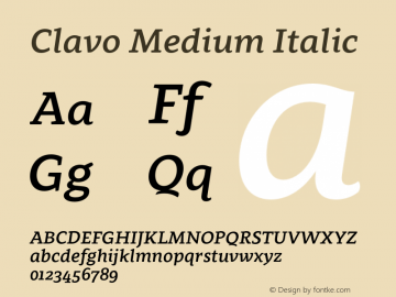 Clavo Medium Italic Version 1.002;PS 001.002;hotconv 1.0.70;makeotf.lib2.5.58329 Font Sample