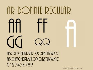 AR BONNIE Regular Version 2.00 Font Sample