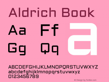 Aldrich Book Version 1.001 2011 Font Sample