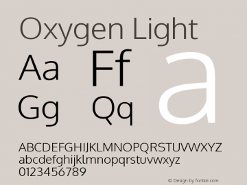 Oxygen Light Version Release 0.2.3 webfon Font Sample