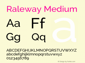 Raleway Medium Version 2.001; ttfautohint ( Font Sample