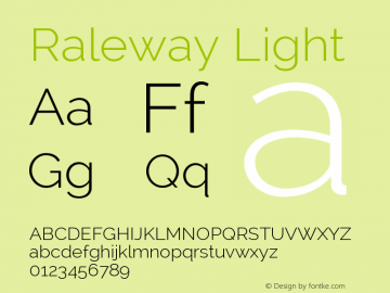 Raleway Light Version 2.001; ttfautohint ( Font Sample