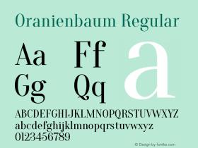 Oranienbaum Regular Version 1.001; ttfautohint (图片样张