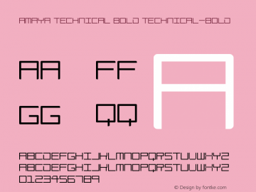 Amaya Technical Bold Technical-Bold Version 1.0图片样张