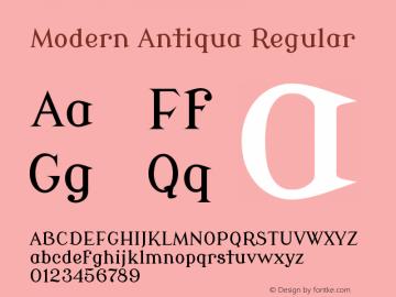 Modern Antiqua Regular Version 1.0 Font Sample