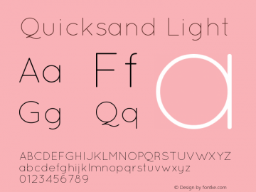 Quicksand Light Version 001.001 Font Sample