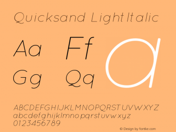 Quicksand LightItalic Version 001.001 Font Sample