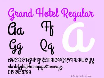 Grand Hotel Regular Version 001.000 Font Sample