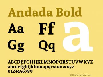 Andada Bold Version 1.003 Font Sample