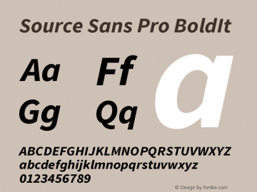 Source Sans Pro BoldIt Version 1.038;PS Version 1.0 Font Sample