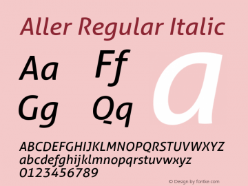 Aller Regular Italic Version 1.00 Font Sample