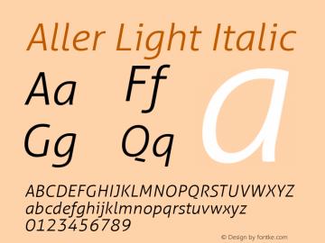 Aller Light Italic Version 1.00 Font Sample