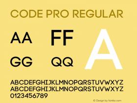 Code Pro Regular Version 1.003 Font Sample
