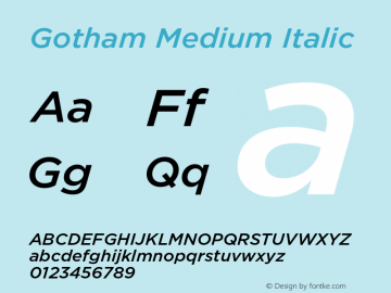 Gotham Medium Italic Version 001.000图片样张