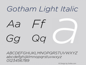 Gotham Light Italic Version 001.000图片样张
