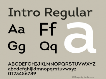 Intro Regular Version 1.000;PS 001.001;hotconv 1.0.56 Font Sample