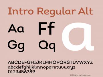 Intro Regular Alt Version 1.000;PS 001.001;hotconv 1.0.56 Font Sample