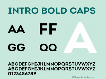 Intro Bold Caps Version 1.000;PS 001.001;hotconv 1.0.56 Font Sample