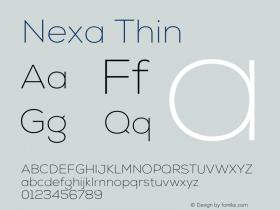 Nexa Thin Version 001.001 Font Sample