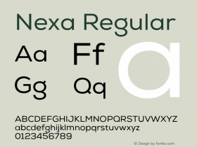 Nexa Regular Version 001.001 Font Sample