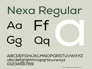 Nexa Regular Version 001.001 Font Sample