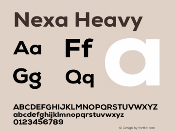 Nexa Heavy Version 001.001 Font Sample