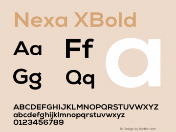 Nexa XBold Version 001.001 Font Sample