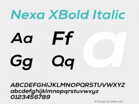 Nexa XBold Italic Version 001.001 Font Sample