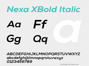 Nexa XBold Italic Version 001.001 Font Sample