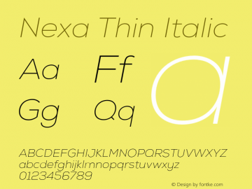 Nexa Thin Italic Version 001.001 Font Sample