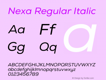 Nexa Regular Italic Version 001.001 Font Sample