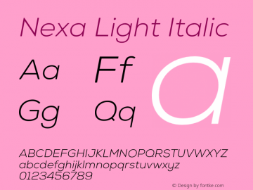 Nexa Light Italic Version 001.001 Font Sample