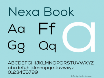 Nexa Book Version 001.001 Font Sample