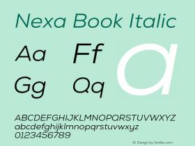 Nexa Book Italic Version 001.001 Font Sample