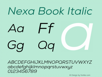 Nexa Book Italic Version 001.001 Font Sample