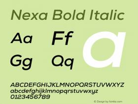 Nexa Bold Italic Version 001.001 Font Sample