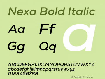 Nexa Bold Italic Version 001.001 Font Sample