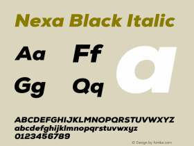 Nexa Black Italic Version 001.001 Font Sample