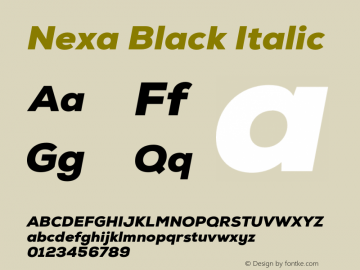 Nexa Black Italic Version 001.001 Font Sample