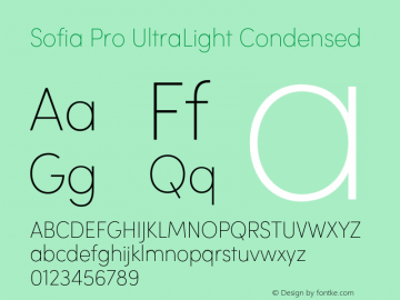 Sofia Pro UltraLight Condensed Version 2.000 Font Sample