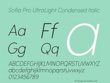Sofia Pro UltraLight Condensed Italic Version 2.000 Font Sample