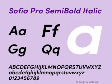 Sofia Pro SemiBold Italic Version 2.000 Font Sample