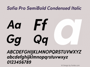 Sofia Pro SemiBold Condensed Italic Version 2.000 Font Sample