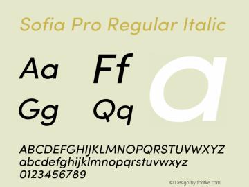 Sofia Pro Regular Italic Version 2.000 Font Sample