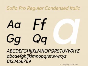 Sofia Pro Regular Condensed Italic Version 2.000 Font Sample