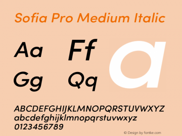 Sofia Pro Medium Italic Version 2.000 Font Sample