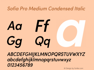 Sofia Pro Medium Condensed Italic Version 2.000 Font Sample
