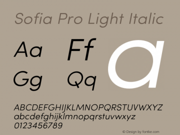 Sofia Pro Light Italic Version 2.000 Font Sample