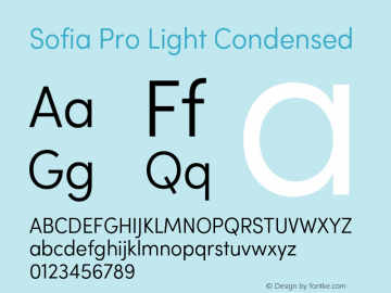 Sofia Pro Light Condensed Version 2.000 Font Sample